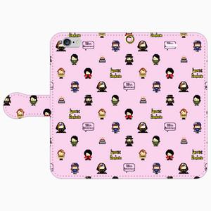 【通販限定】手帳型スマホケース・ピンク(メンバードット絵パターン)