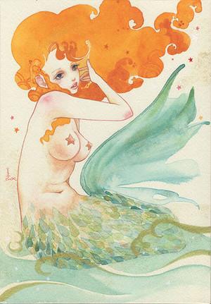 sioux 透明水彩 数量限定 複製原画 [人魚の歌 1番目の姉  Mermaid song Oldest sister]人魚姫 マーメイド