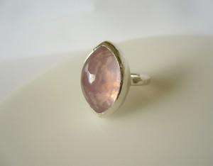 天然ローズクオーツの指輪
