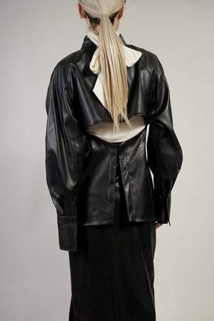 FAUX LEATHER SEPARATE SET VEST + BOLERO  (BLACK)2011-28-55