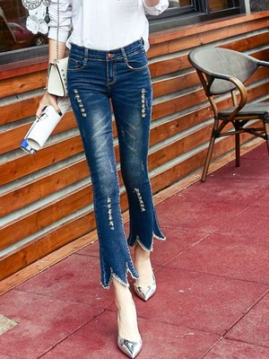 【bottoms】Fashion ladies bell-bottom ripped jeans