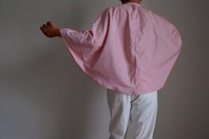 ポンチョ 風 プルオーバーシャツ / Lサイズ /コットン ストライプ【オフ白に赤】オフィスカジュアル / poncho pullover shirt office casual block stripe【off-white&red】