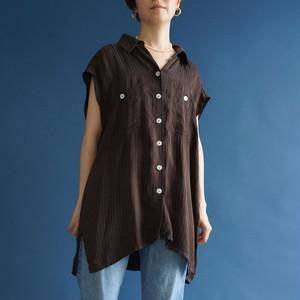【送料無料】 Remake Brown vintage stlipe shirt(リメイク ブラウン シャツ)