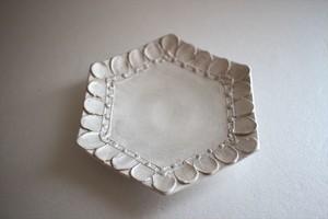 野田里美|銀花皿 六角 輪花
