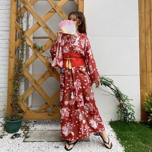 【ワンピース】和風ファッションレトロ桜収束ロングワンピース