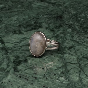 OVAL BIG STONE RING SILVER 006