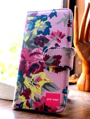 北欧デザイン pinkindia iPhoneケース手帳型 Pink flower