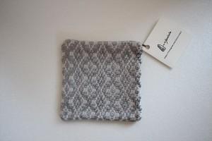 新美典子(perico畑)|コースター 綿糸×絹糸(グレー)