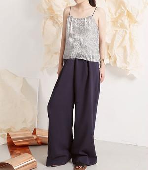 紺色ベルト付きワイドロングパンツ Wide Long Pants