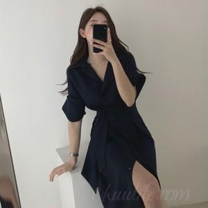 【ワンピース】シンプル半袖折り襟Aラインワンピース42893984