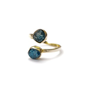 DOUBLE STONE OPEN RING APATITE