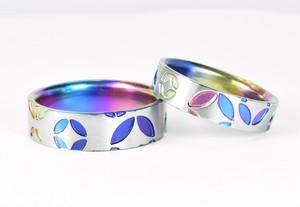 【J1】ジルコニウム結婚指輪 七宝柄【散し】カラー 和テイストブライダルリング
