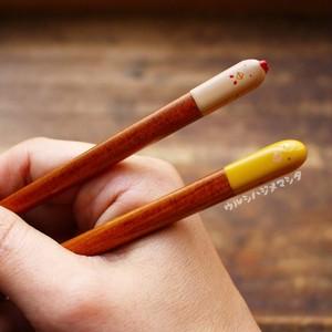 【23cm・大人用】拭き漆の箸(にわとり&ひよこ)/URUSHI CHOPSTICKS(CHICKEN&CHICK)