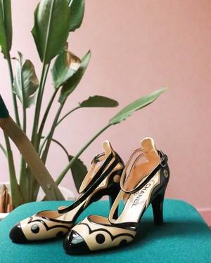 CHANEL bi-color ankle strap heel
