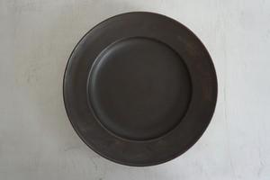 松田靖代 リム皿 8寸 茶