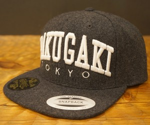 RAKUGAKI Melton Wool College Logo SnapBack Cap Dark Grey x White