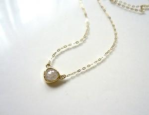 ナチュラルダイアモンドのK14のペンダント(シルバーホワイト)