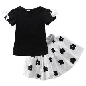 130センチ★花柄がかわいいスカート&Tシャツの上下セット