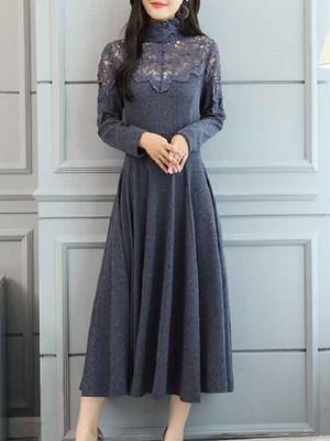 【dress】Temperament hollow waist knittde dress