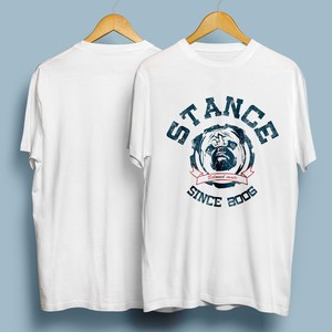 犬猫、ペットの名入れ & 似顔絵オリジナルオーダーメイドTシャツ作成/アメカジエンブレムA
