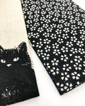 黒猫柄が粋な男性用半幅帯【黒×桜柄】