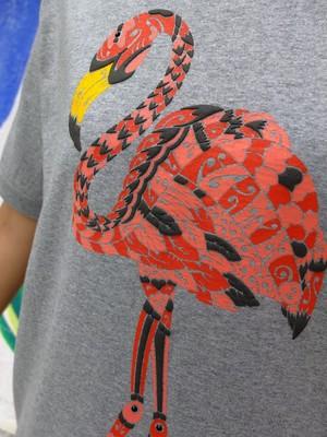 フラミンゴのスウェット風Tシャツ #MIXGRAY