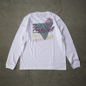 """""""TROPICAL STATE OF MIND""""  L/S TEE - ホワイト"""