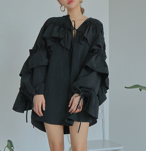 loose frill mini dress