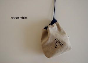 イニシャル刺繍 巾着(マチあり)
