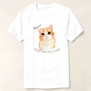 bonjour! petit chat tout rond  立ち耳スコティッシュフォールドTシャツ