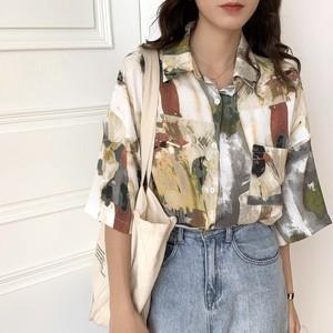 【トップス】レトロ ファッション 配色 ゆるリラックス シフォン シャツ48558489