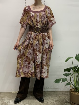flower print square neck one-piece 【ML位】