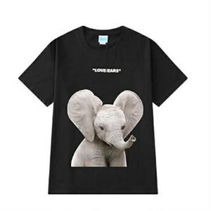 半袖Tシャツかわいいゾウとロゴユニセックスブラックカラー