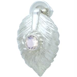 (6月)ブルームーンストーン ホワイト ネイディブ ハート フェザー  シルバー ピアス 誕生石*BE-1036