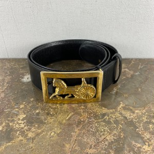 CELINE 85 CARRIAGE LOGO LEATHER BELT MADE IN ITALY/セリーヌ馬車ロゴレザーベルト