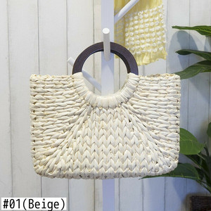 Straw Handbag Beach Tote Bag Shoulder Bag Shopping Travel Crossbody Bag Sac サマー 夏物 ショルダーバッグ トートバッグ ビーチ クロスボディ ハンドバッグ サッチェル (HF99-4965525)