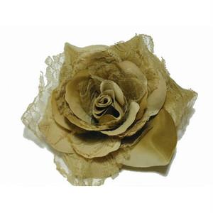 薔薇の花の髪飾り&コサージュ(ベージュ) [000620]