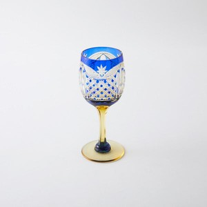 数量限定2個 送料無料 無料包装 結婚祝 記念日 江戸切子の店 琥珀色瑠璃被せクリスタルワイングラス
