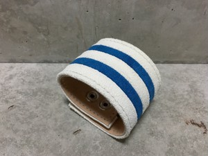 Stripe Suede Wristband(White×Blue)