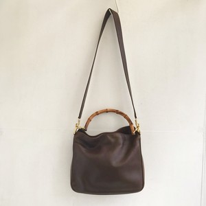GUCCI leather × bamboo hand & shoulder bag