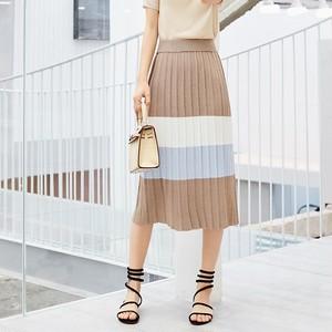【bottoms】ニット配色切り替えシンプルスカート