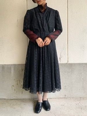 (TOYO) design lace s/s one-piece