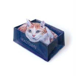 箱入りネコのブローチ
