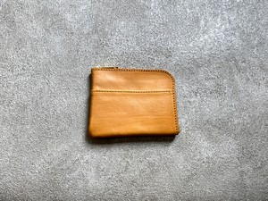 L-shaped Small Wallet: (vegetable tanned and waxed leather) Color : Camel