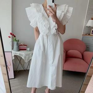 volume v frill dress 3color