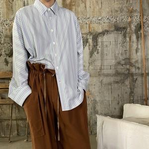 Dessin de Mode【デッサン ド モード】オーバーサイズシャツ |5DSH-01-CL (シャビーストライプ GREEN STRIPE ).