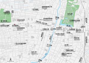 秋田 秋田駅周辺 イラストレータデータ(eps) 中国語(繁体字)/ 英語 並記版