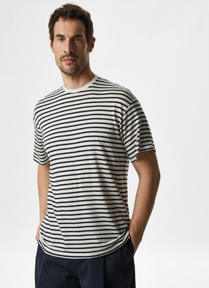 ELASTIC LINEN T-SHIRT WITH STRIPES