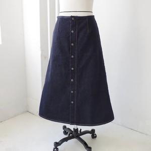 フロントボタン Aラインデニムロングスカート