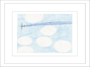 プリント額絵:Saiko作「ひこうき雲」